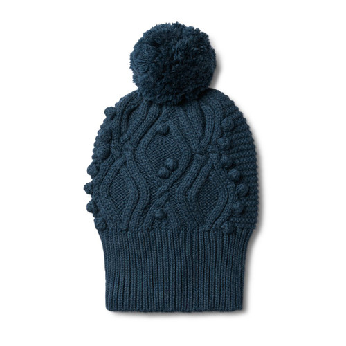 Majolica Blue Cable Knitted Pom Pom Hat