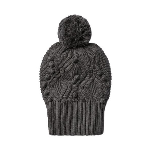 Dark Moon Cable Knitted Pom Pom Hat