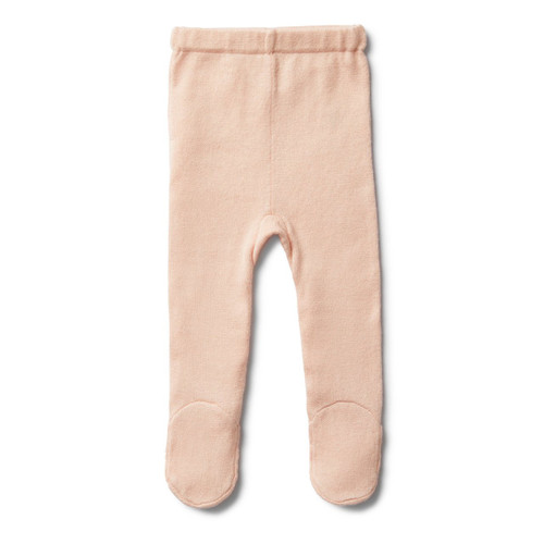 Peachy Pink Knitted Legging With Feet