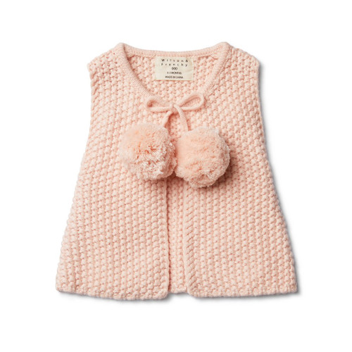 Peachy Pink Knitted Vest With Pom Poms