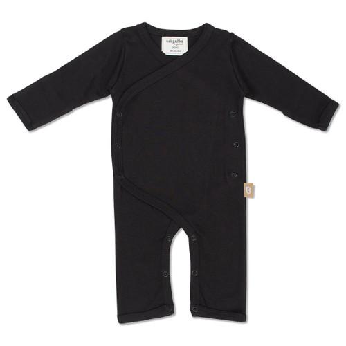 Babyushka Organic Long Sleeve Kimono Romper Black