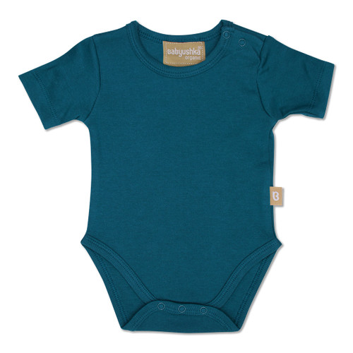 Babyushka Organic Short Sleeve Onesie Blue