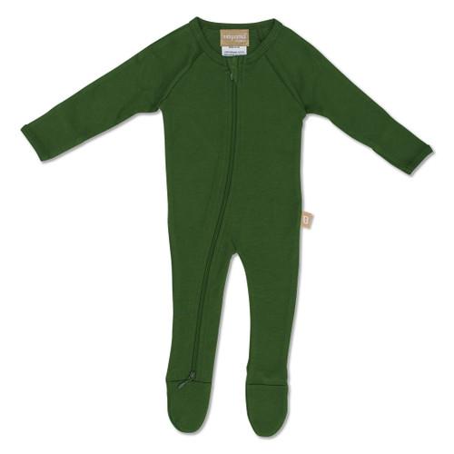 Babyushka Organic Long Sleve ZipJump suit Green