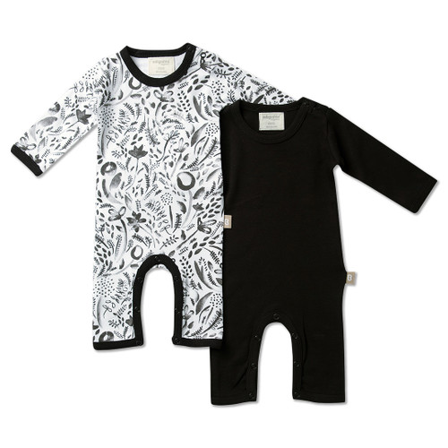 Babyushka Organic 2-Pack Long Sleeve Jumpsuit Black