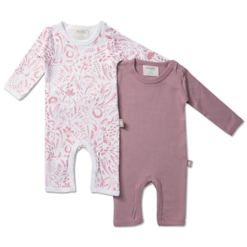 Babyushka Organic 2-Pack Long Sleeve Jumpsuit Pink