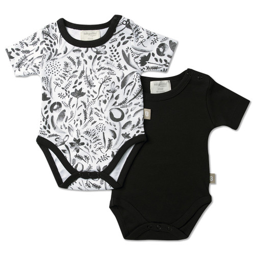 Babyushka Organic 2-Pack Short Sleeve Onesie Black