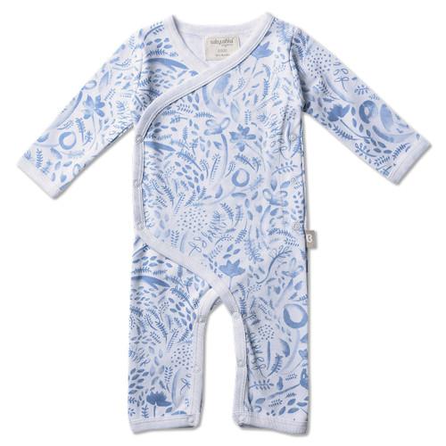 Babyushka Organic Long Sleeve Kimono Blue