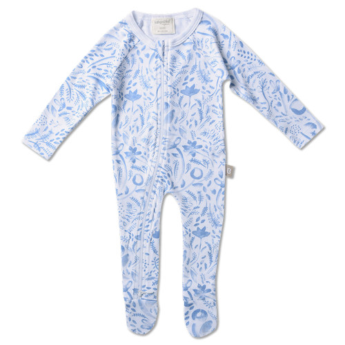 Babyushka Organic Long Sleeve Zip Romper Blue