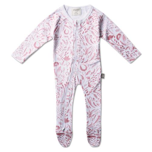 Babyushka Organic Long Sleeve Zip Romper Pink