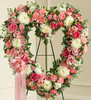 Funeral Flowers package - Always Remember Pink Floral Heart Tribute