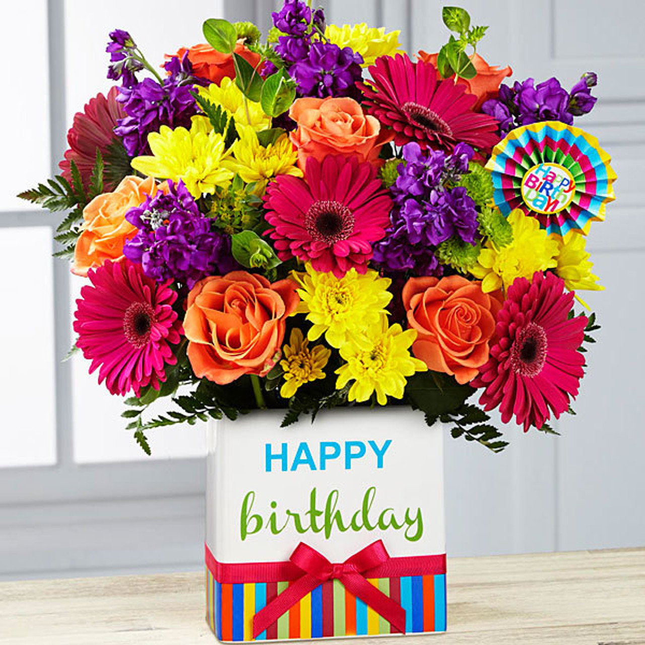 Birthday Brights Bouquet Flowers Long Island