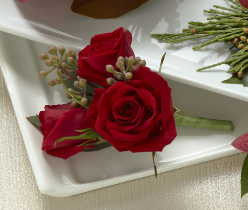 Red Spray Rose Boutonniere Florist Long Island NY