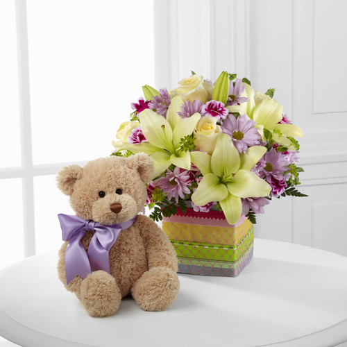 Welcome Bear Bouquet Flowers Long Island
