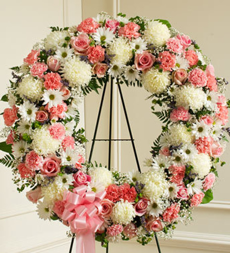 Serene Blessings Pink & White Standing Wreath Florist Long Island NY