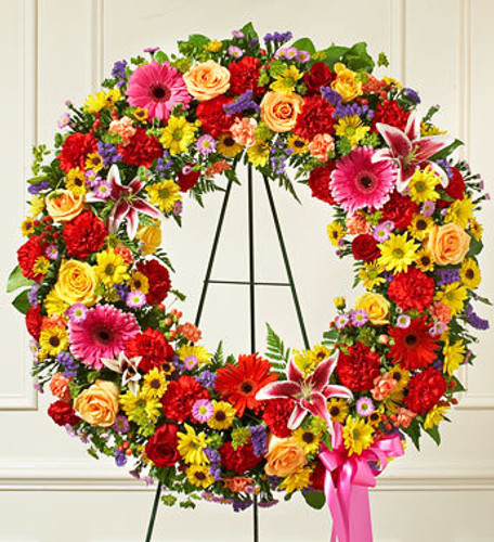 Serene Blessings Bright Standing Wreath Long Island Flower Delivery