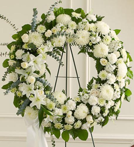Serene Blessings White Standing Wreath Flowers Long Island