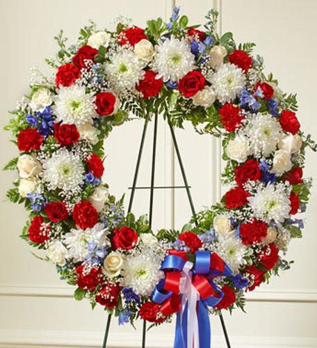Serene Blessings Red, White & Blue Standing Wreath Long Island Florist