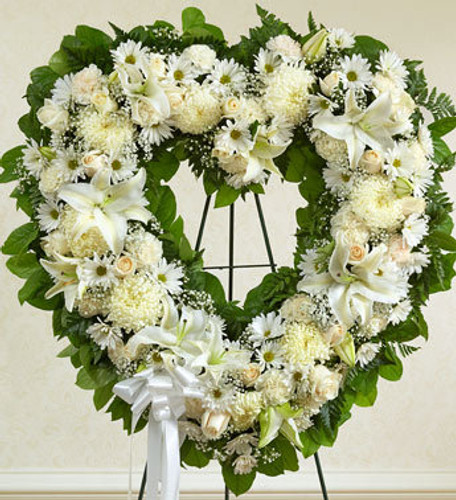 Always Remember White Floral Heart Tribute Flowers Long Island