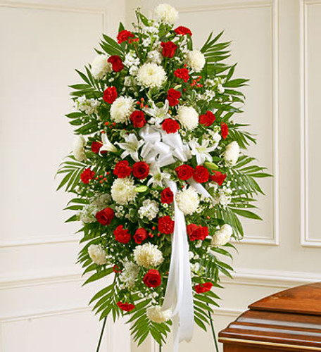 Red & White Sympathy Standing Spray Florist Long Island NY