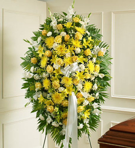 Yellow & White Sympathy Standing Spray Long Island Flower Delivery