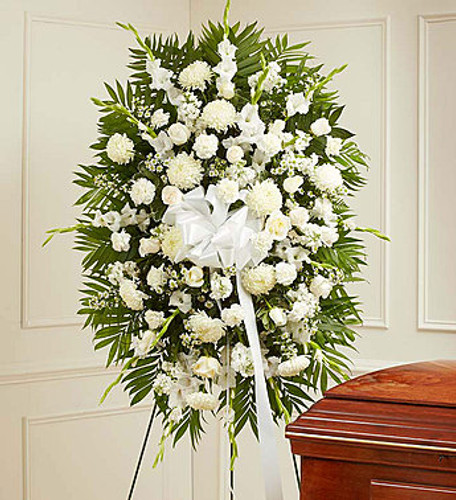 White Sympathy Standing Spray Flowers Long Island