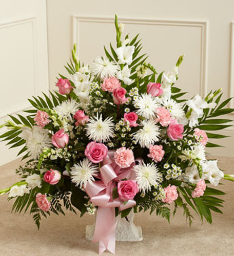 Tribute Pink & White Floor Basket Arrangement Florist Long Island NY