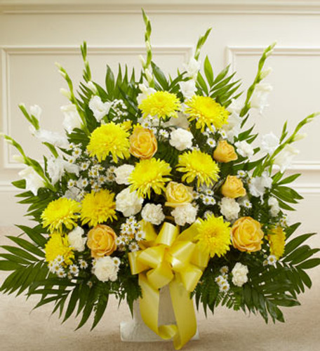Heartfelt Tribute Yellow Floor Basket Arrangement Long Island Flower Delivery