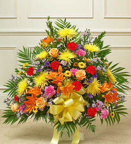Heartfelt Tribute Bright Floor Basket Arrangement Flowers Long Island