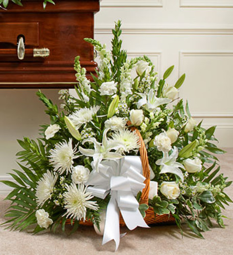 Thoughts and Prayers Fireside Basket - White Long Island Flower Delivery