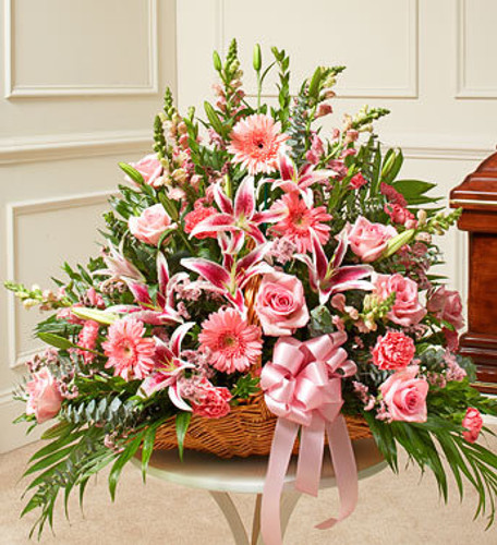 Thoughts and Prayers Fireside Basket - Pink Flowers Long Island