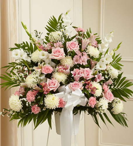 Heartfelt Sympathies Pink & White Standing Basket Long Island Flower Delivery