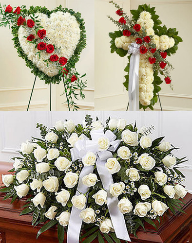 Red & White Funeral Package Flowers Long Island
