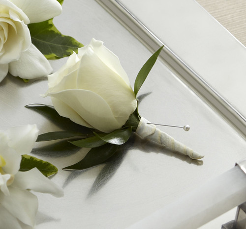 White Rose Boutonniere Flowers Long Island