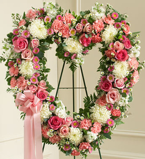 Always Remember Pink Floral Heart Tribute Long Island Flower Delivery