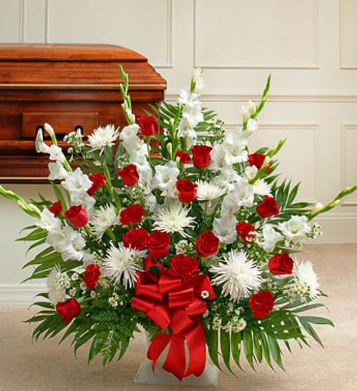 Tribute Red & White Floor Basket Arrangement Long Island Florist