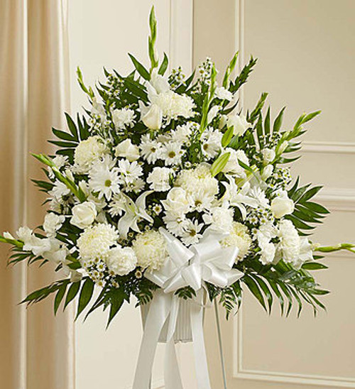 Heartfelt Sympathies White Standing Basket Florist Long Island NY