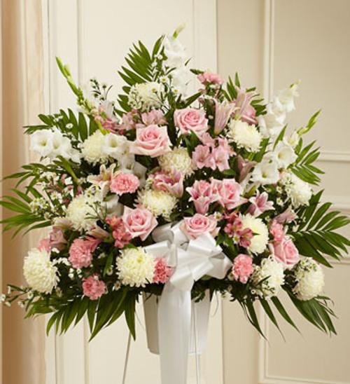 Heartfelt Sympathies Pink & White Standing Basket Long Island Flower Delivery