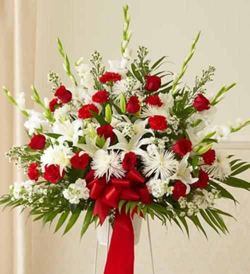 Heartfelt Sympathies Red & White Standing Basket Flowers Long Island