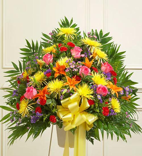 Heartfelt Sympathies Bright Standing Basket Florist Long Island NY