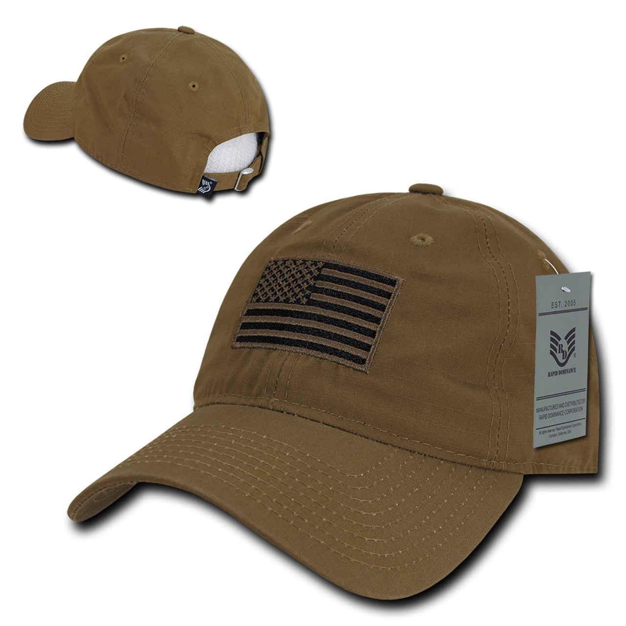 947b752c65289 S73 - USA Flag Cap - Relaxed Ripstop - Cotton - Coyote - USMILITARYHATS.COM