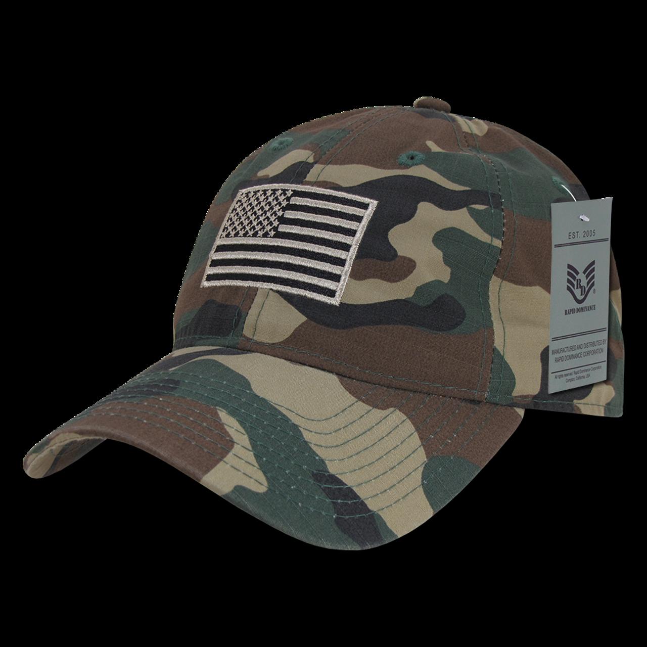 e4b2bdf7716a0 S73 - USA Flag Cap - Relaxed Ripstop - Cotton - Woodland Camouflage -  USMILITARYHATS.COM