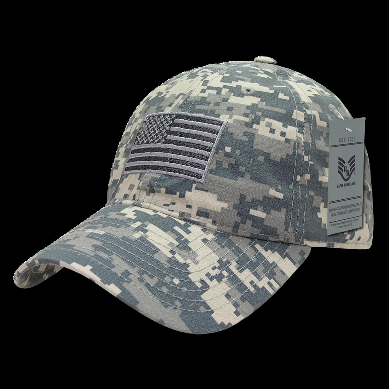 4acf57ecaf9 S73 - USA Flag Cap - Relaxed Ripstop - Cotton - ACU Digital Camouflage -  USMILITARYHATS.COM