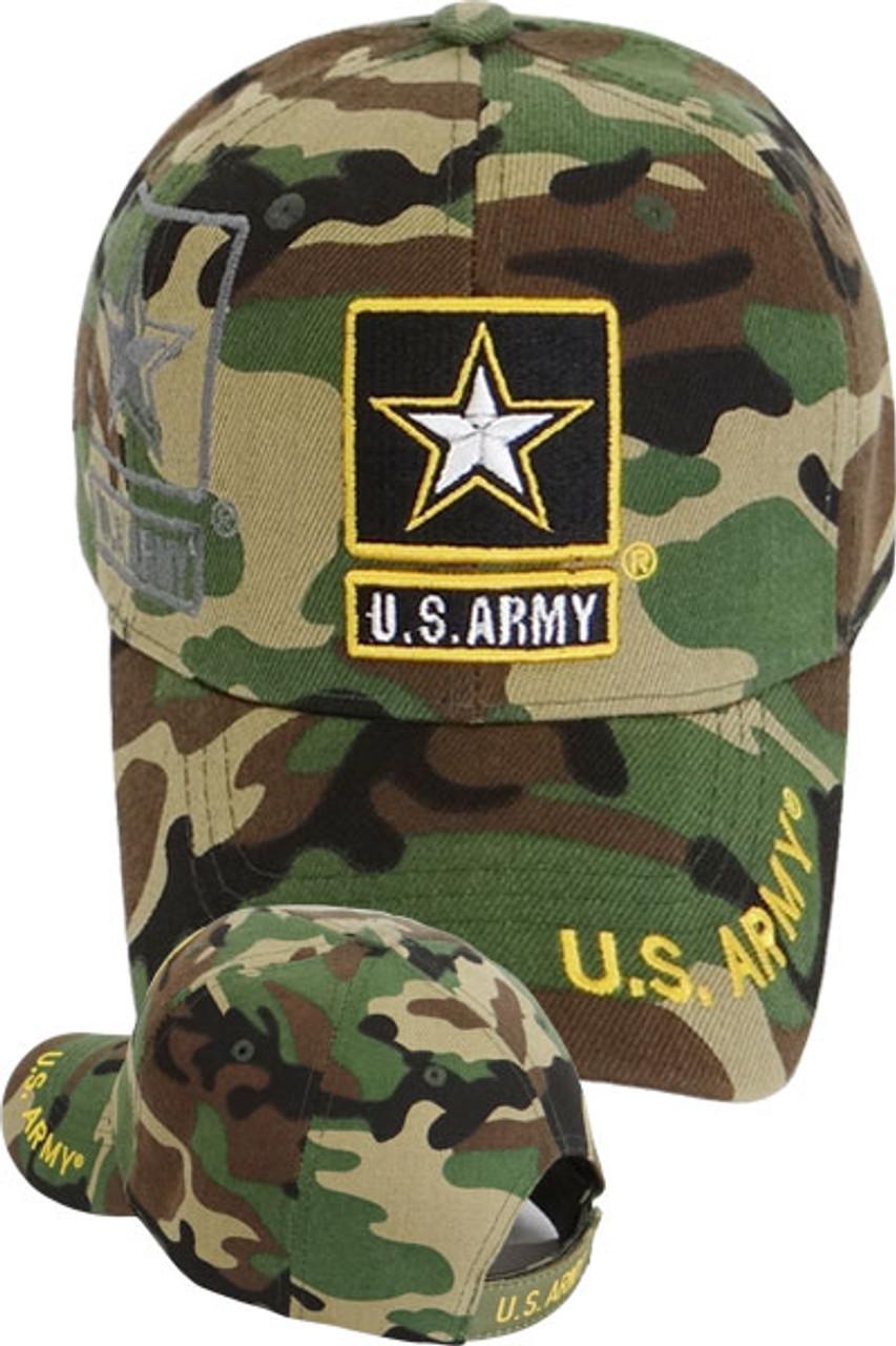 390402de8f2 U.S. Army Star Shadow Cap - Woodland Camo - USMILITARYHATS.COM