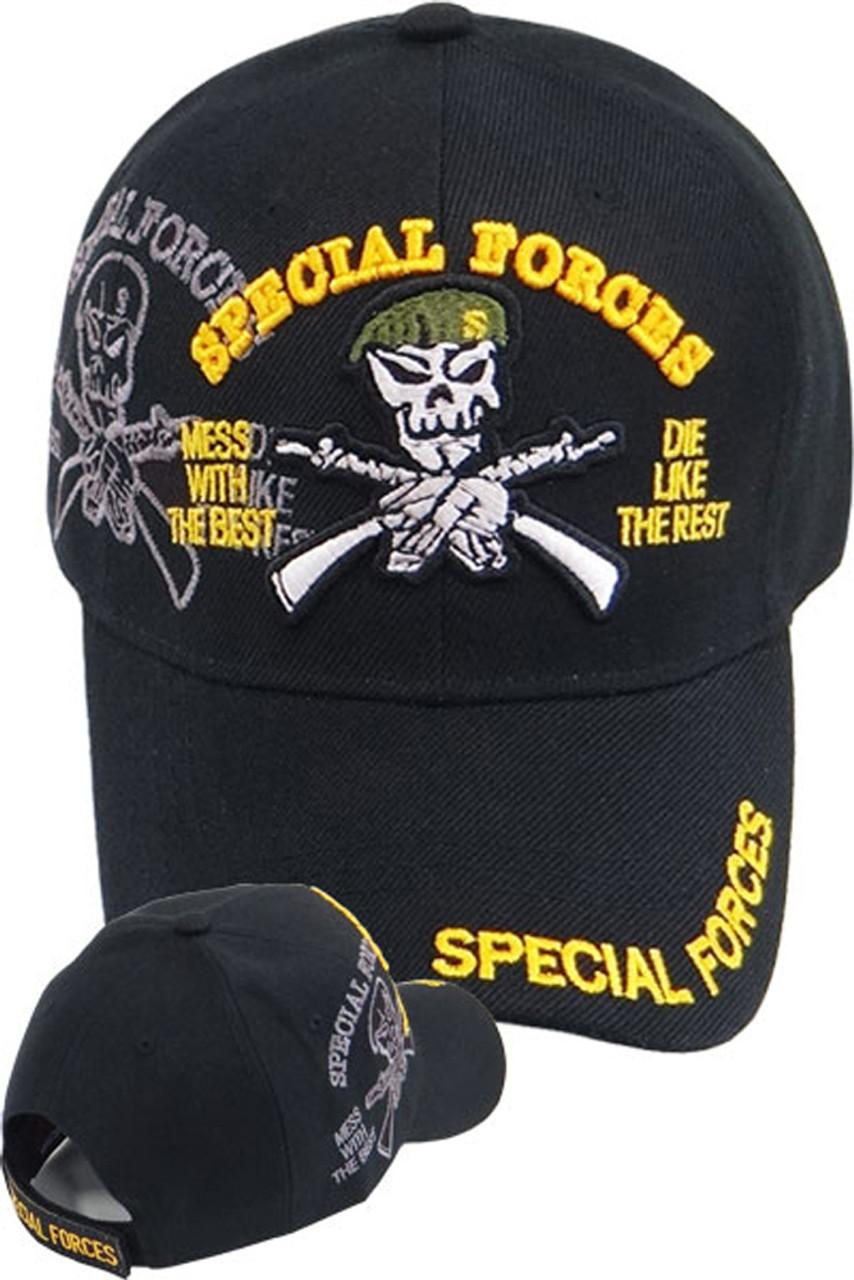 b73813724d9 Special Forces Green Beret Skull Cap - Black - USMILITARYHATS.COM