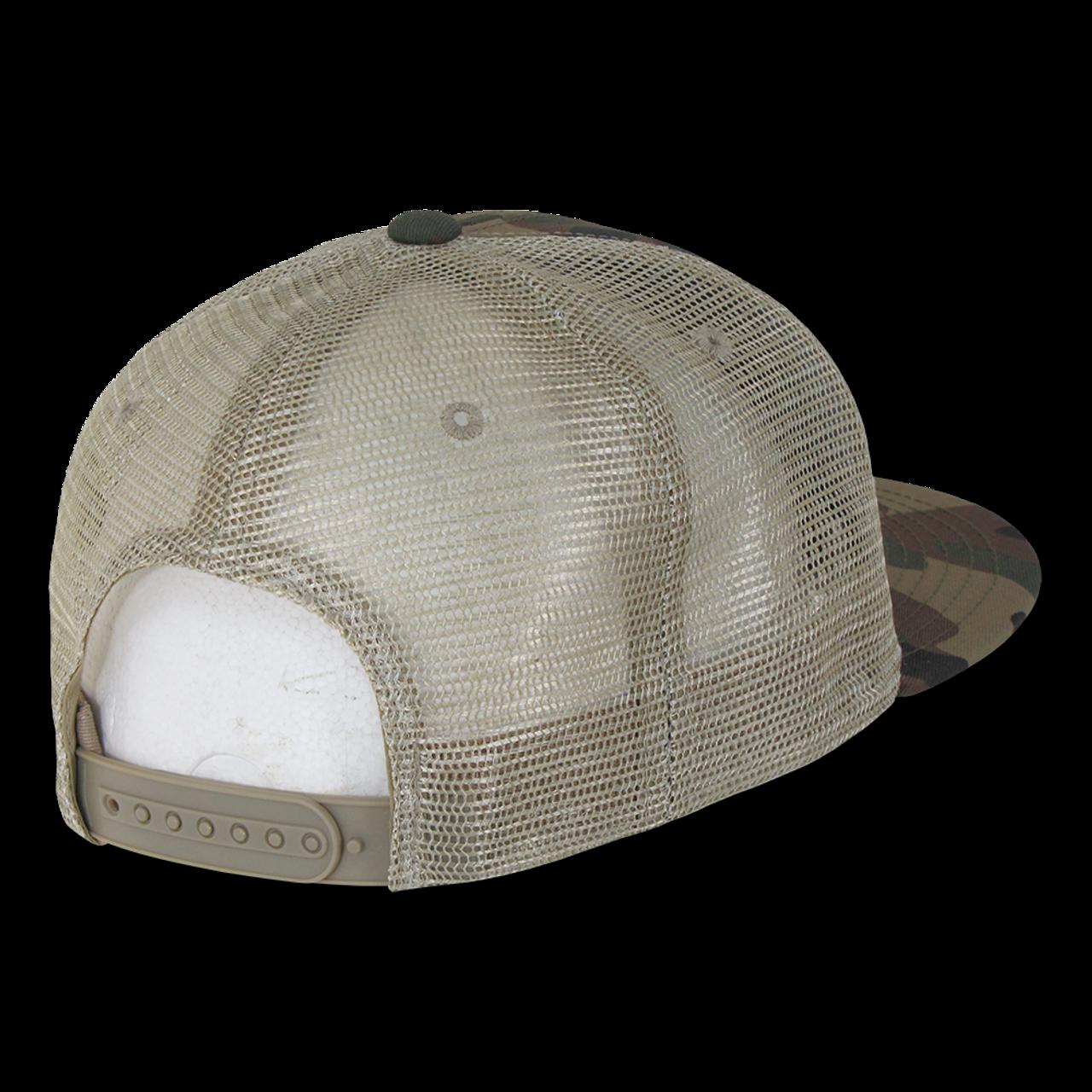 9757c42a0f794 ... Cotton Flat Bill Trucker Cap - Woodland Camouflage/Woodland Camouflage/Khaki  ...
