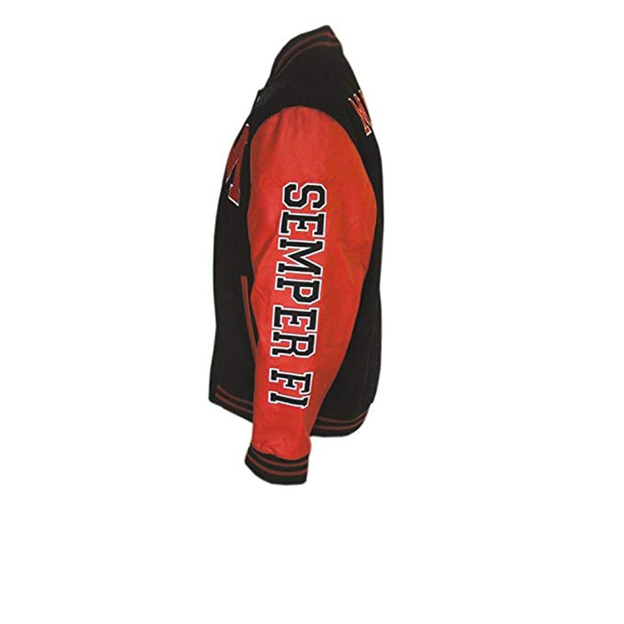 7a5ba7ed476 ... 23244 - Marines Varsity Jacket With USMC Logo - SEMPER FI - Black Red