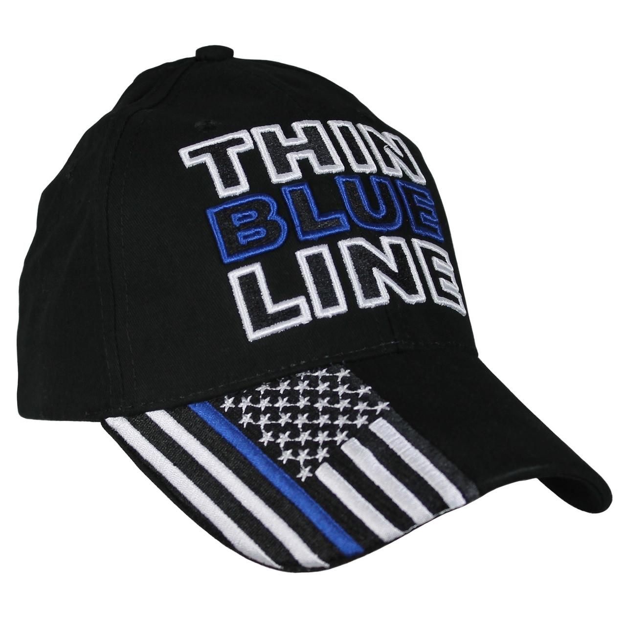 Eagle Crest 6725 - Thin Blue Line Flag Cap Cotton - Black 5418816ea64a