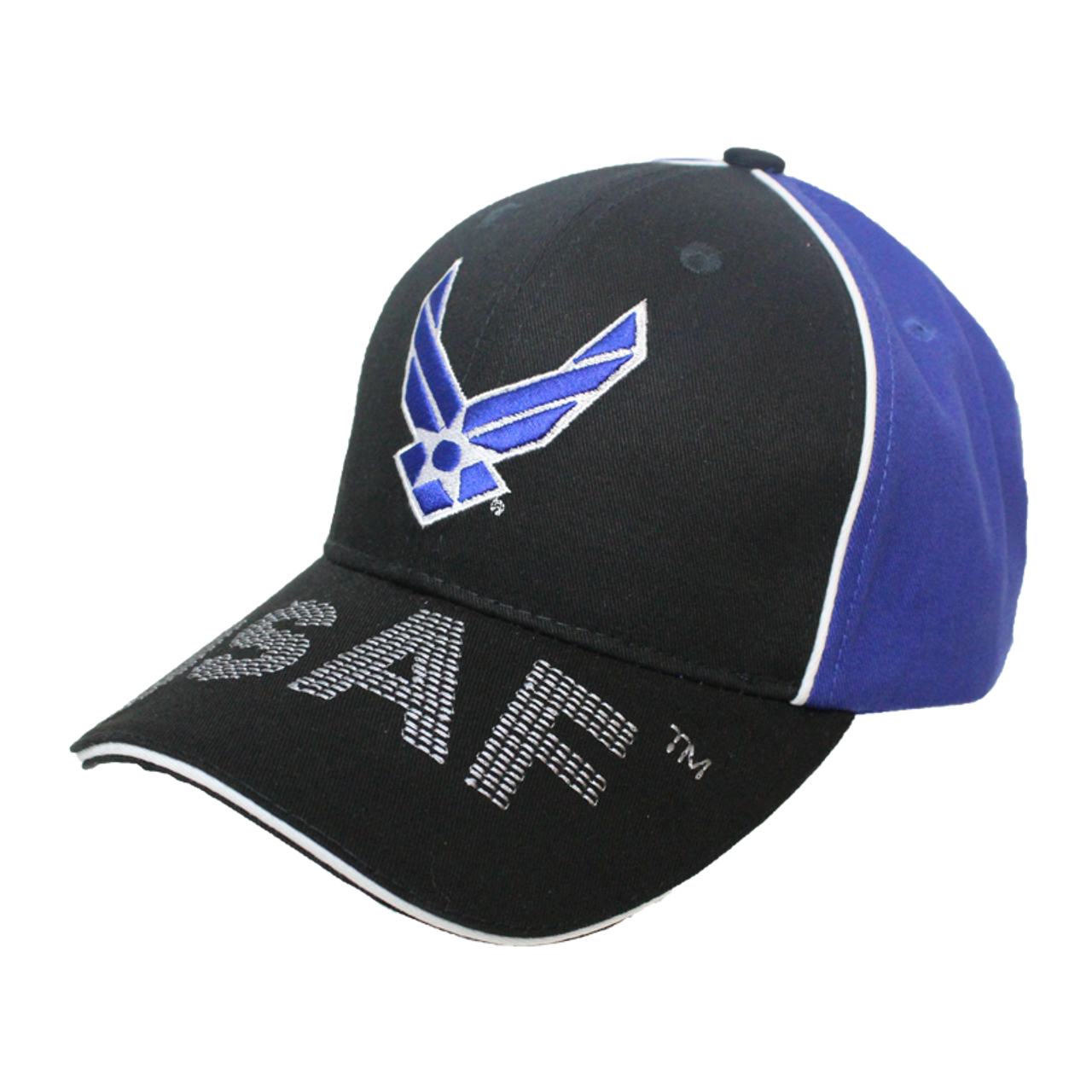 2daa2d64d79 ... 34936 - Piped Embroidered U.S. Air Force Wings Cap Sandwich Bill - Black Blue  ...