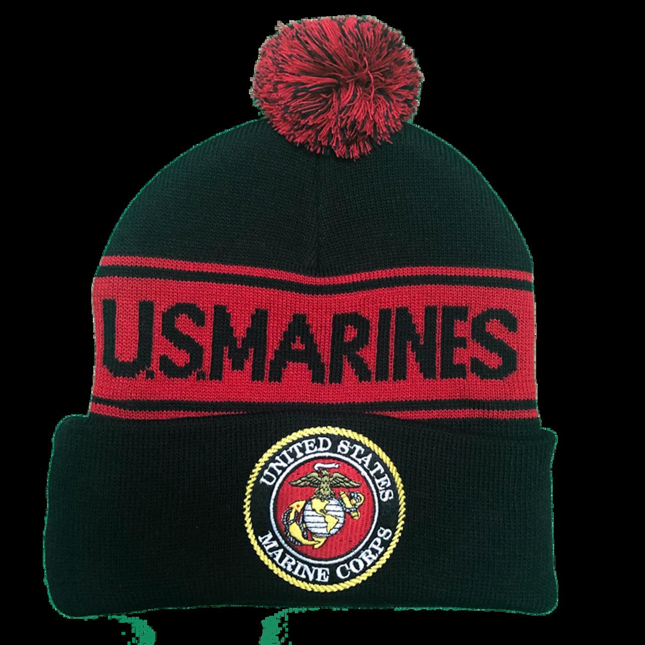 bb0b8f450 36237 - U.S. Marines Knit Beanie Hat with Pom Pom - Black/Red