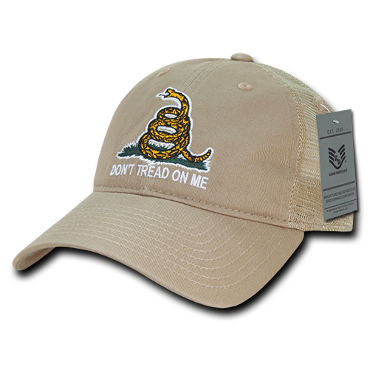 5e2c3f427 A05 - Gadsden Flag Cap - Relaxed Cotton & Trucker Mesh - Khaki
